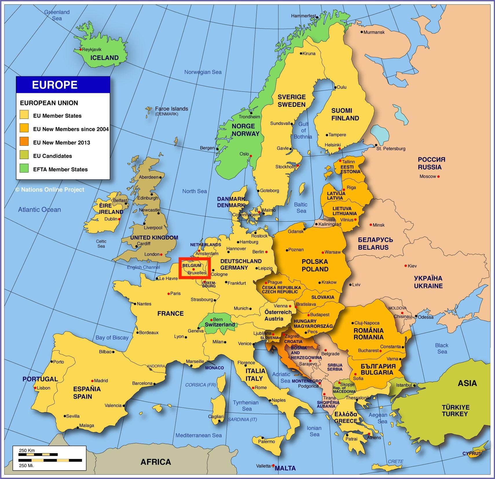 Bruxelles mappa delleuropa Cartina delleuropa mostrando